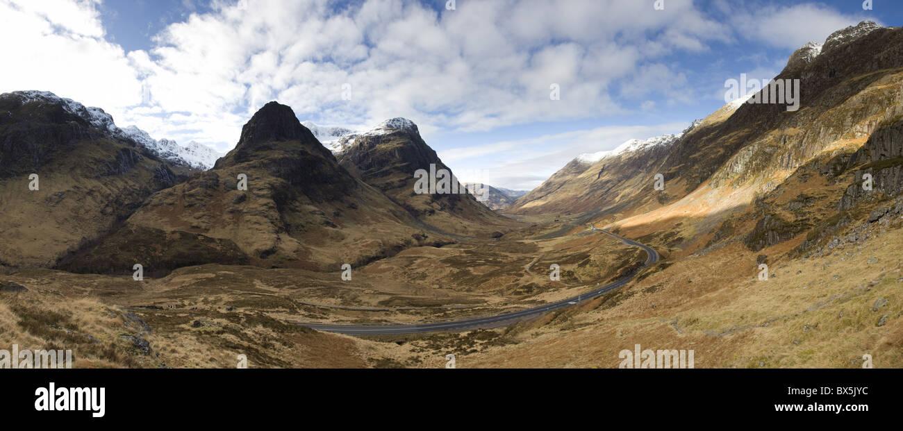 Panoramic view of Glencoe, near Fort William, Highland, Scotland, UK Stock Photo