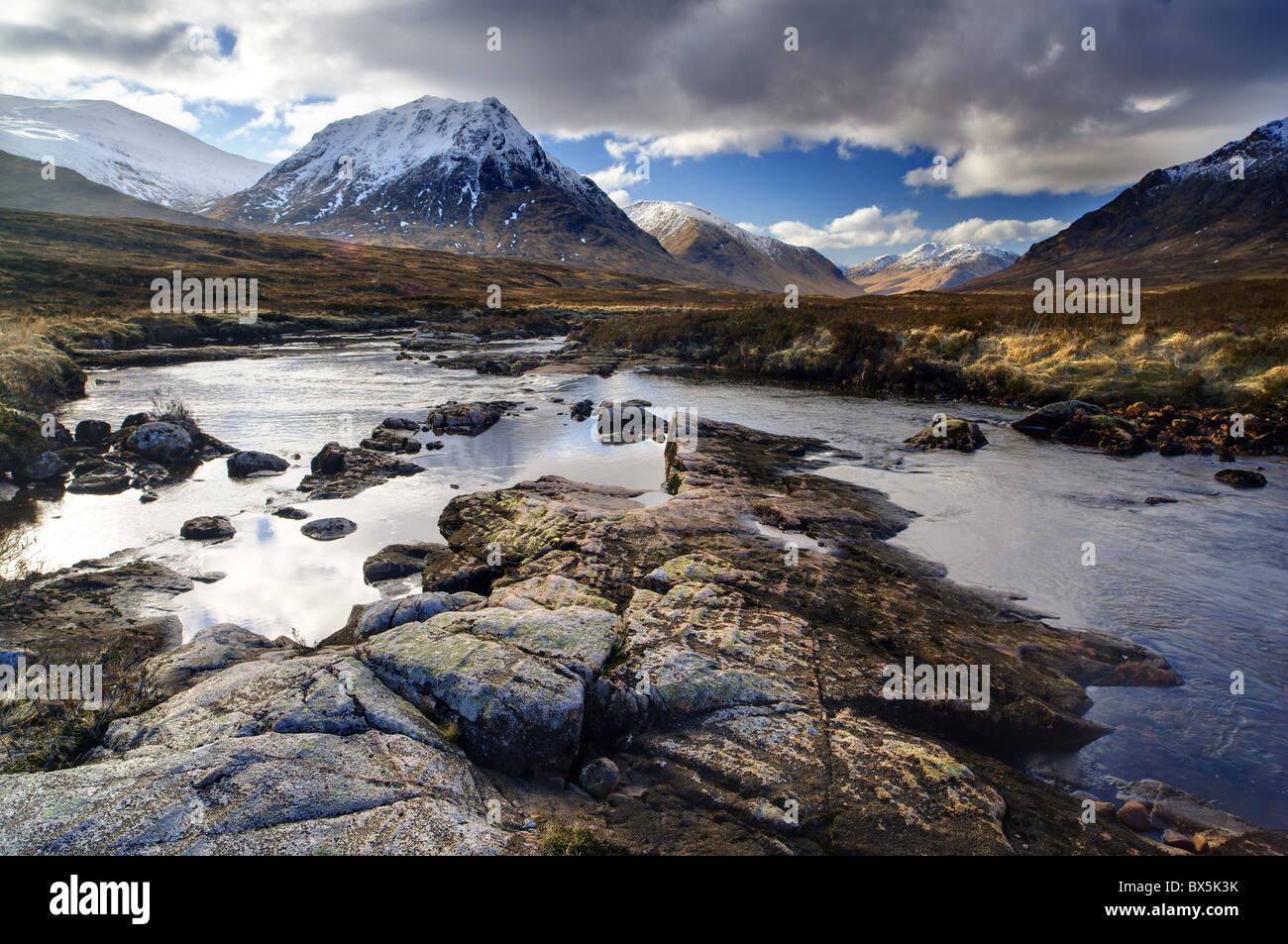 Winter view over River Etive towards snow-capped mountains, Rannoch Moor, near Fort William, Highland, Scotland, Stock Photo