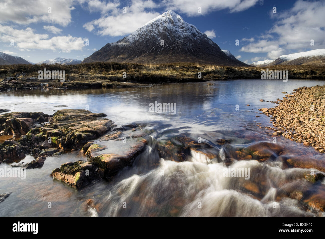 Winter view over River Etive towards snow-capped Buachaille Etive Mor, Rannoch Moor, near Fort William, Highland, Stock Photo