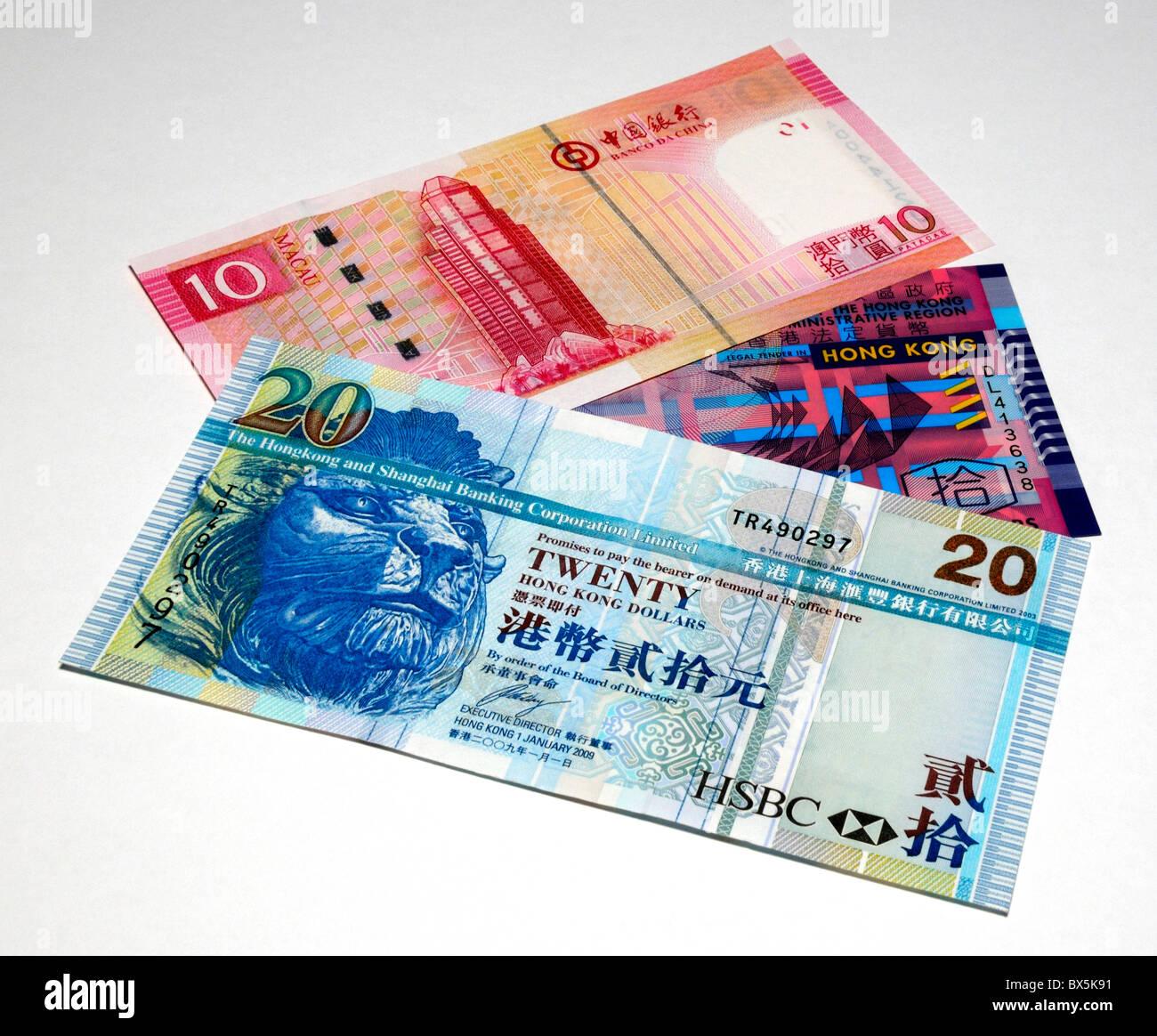 Hong Kong and Macao Bank Notes. - Stock Image