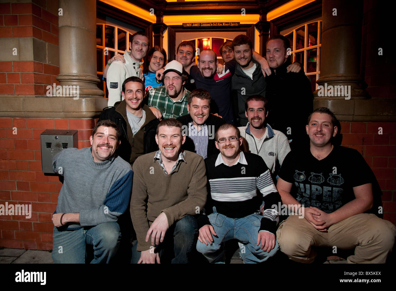 'Movember' growing moustaches man men charity fundraising event in aid pf prostrate cancer research Aberystyth - Stock Image