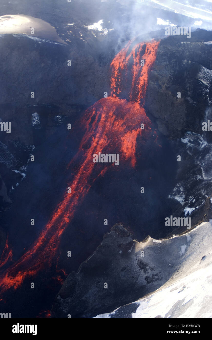 Lava flowing down mountain from Eyjafjallajokull volcano, Iceland, Polar Regions - Stock Image