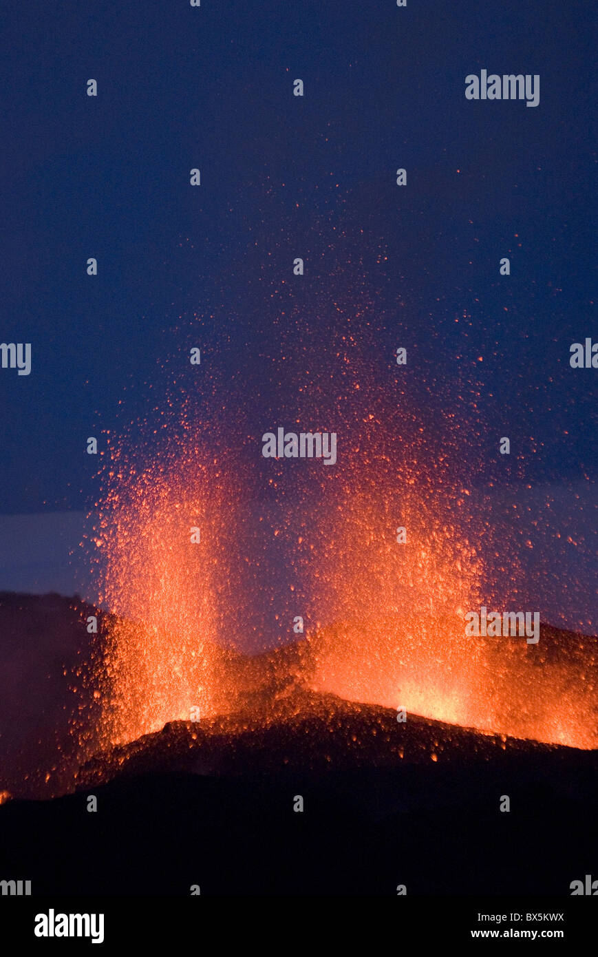 Fountaining lava from Eyjafjallajokull volcano, Iceland, Polar Regions - Stock Image