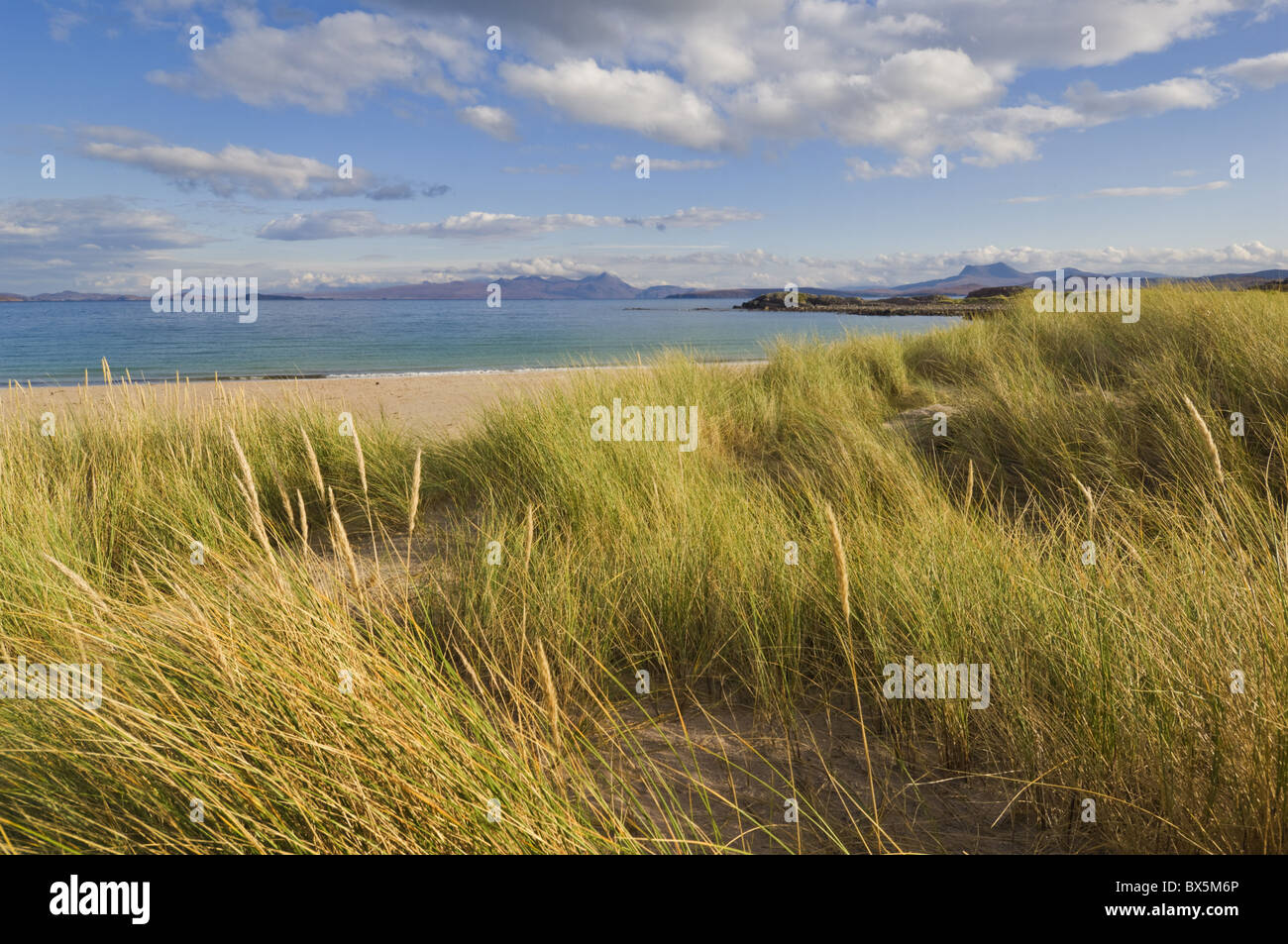 Sand dunes and dune grasses of Mellon Udrigle beach, Wester Ross, north west Scotland, United Kingdom, Europe - Stock Image