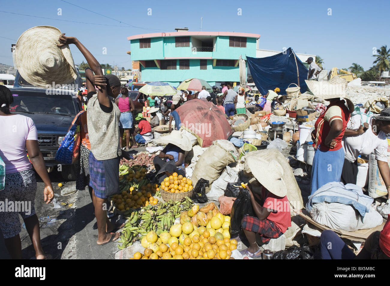Street market, Port au Prince, Haiti, West Indies, Caribbean, Central America - Stock Image