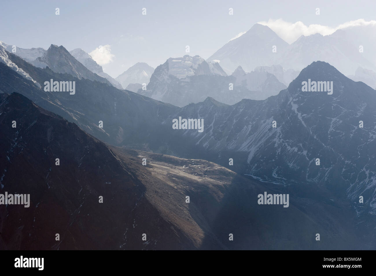 View of Mount Everest, 8850m, from Gokyo Ri, 5483m, Gokyo, Solu Khumbu Everest Region, Sagarmatha National Park, - Stock Image