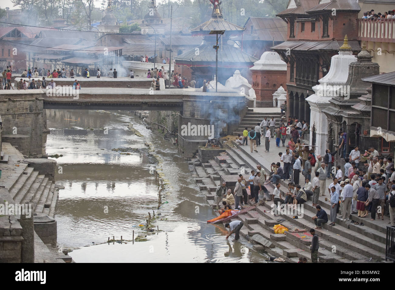 Arya Ghat cremation pyres, Hindu pilgrimage and cremation site, Pashupatinath, Kathmandu, Nepal, Asia - Stock Image