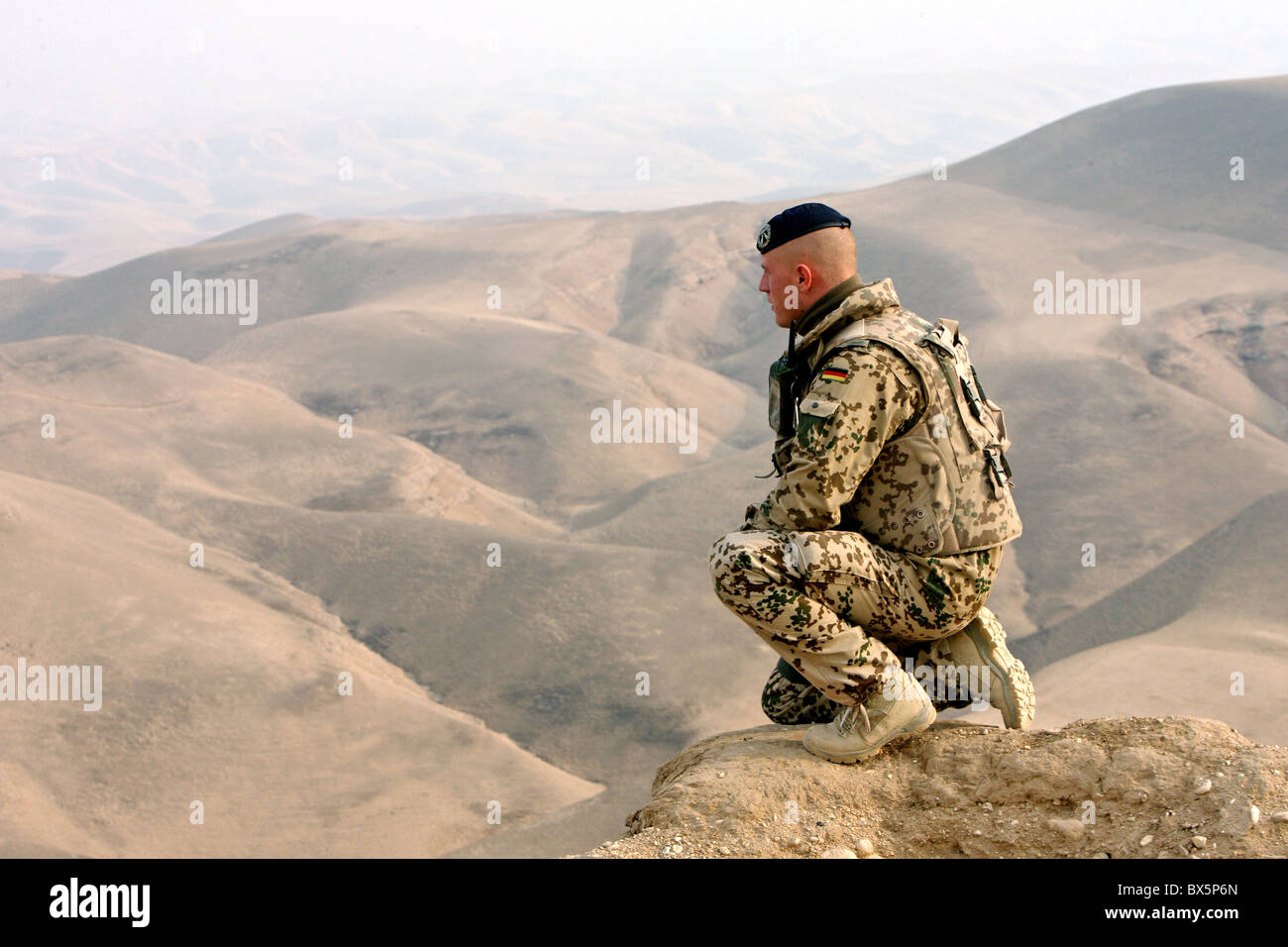 A Bundeswehr soldier of the ISAF patrol, Mazar-e Sharif, Afghanistan - Stock Image