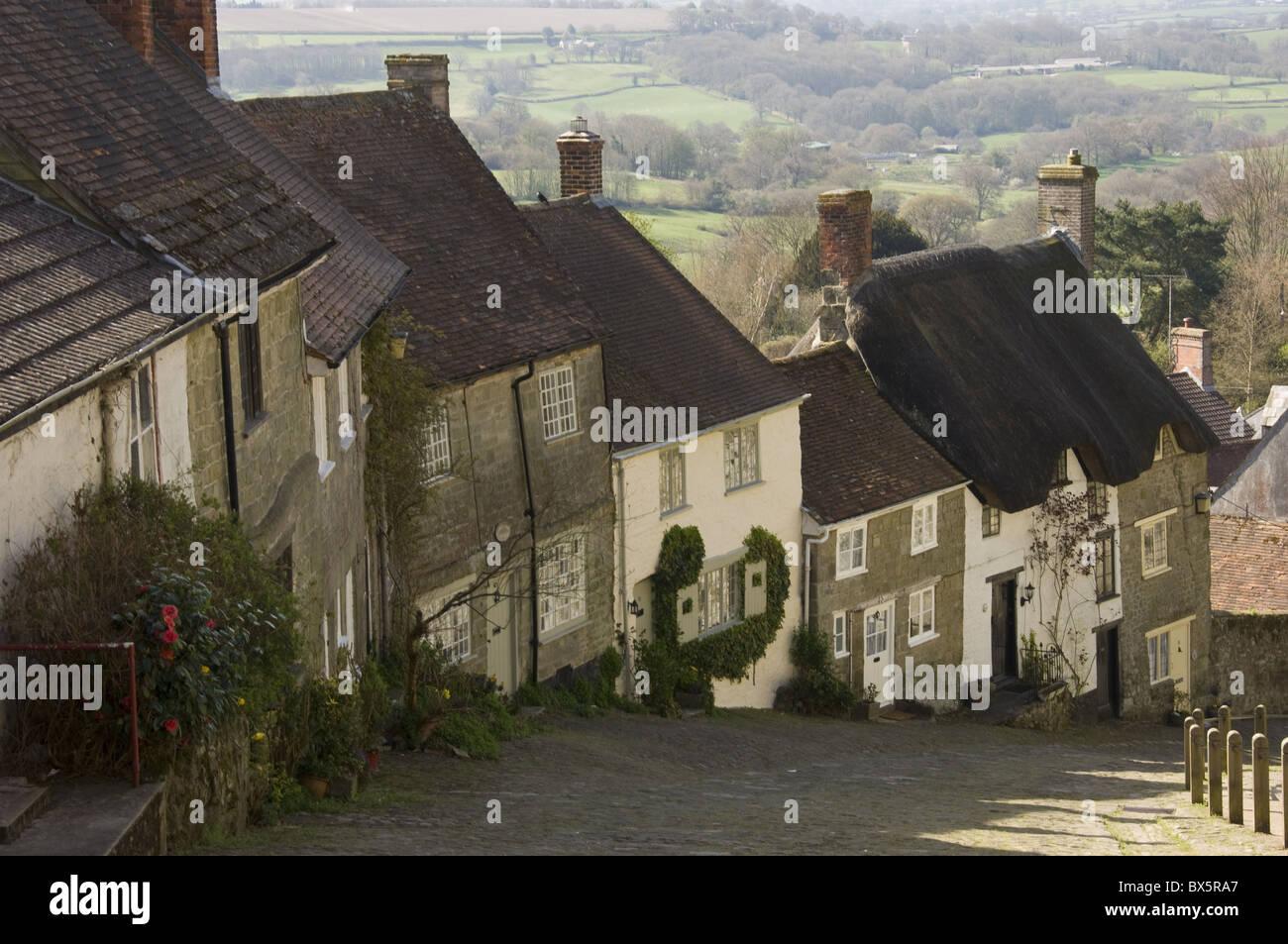 Gold Hill, Shaftesbury, Wiltshire, England, United Kingdom, Europe - Stock Image