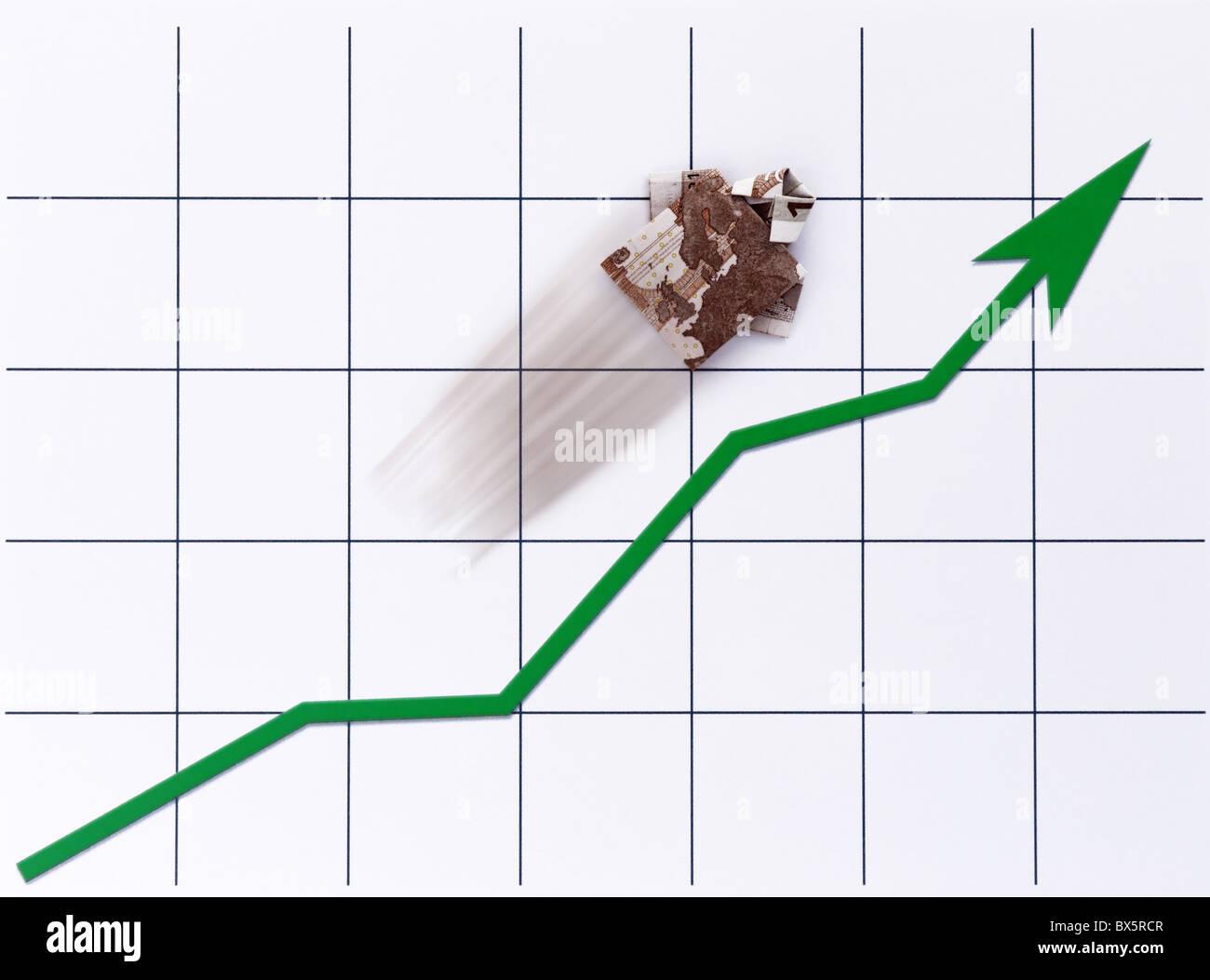 Ein Geldschein – Hemd steigt auf einem Chart |A cash note - shirt rises on a Chart| Stock Photo