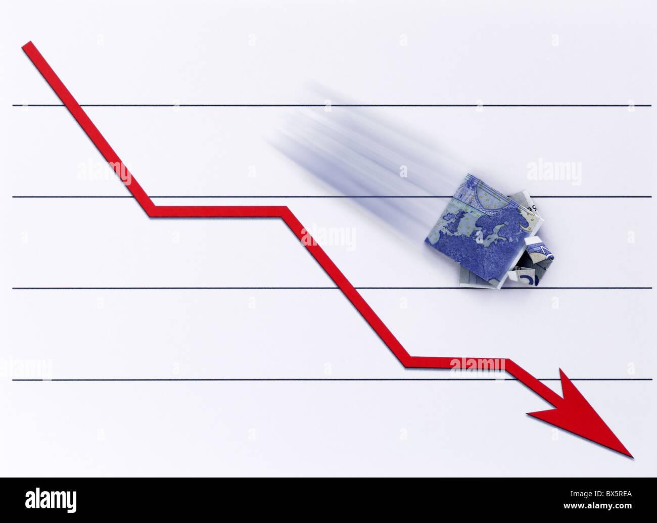 Ein Geldschein – Hemd stürzt auf einem Chart |A cash note - shirt falls on a Chart| Stock Photo