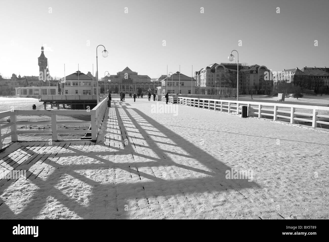 wooden pier in Sopot, Poland - Stock Image