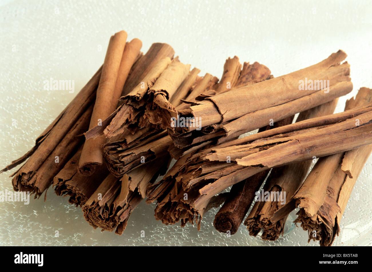 Cinnamon sticks, tray. - Stock Image