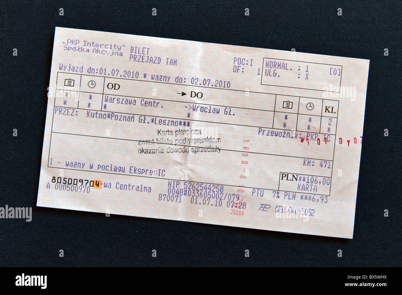 Validated train ticket for express train from Warsaw to Wroclaw, Poland Stock Photo