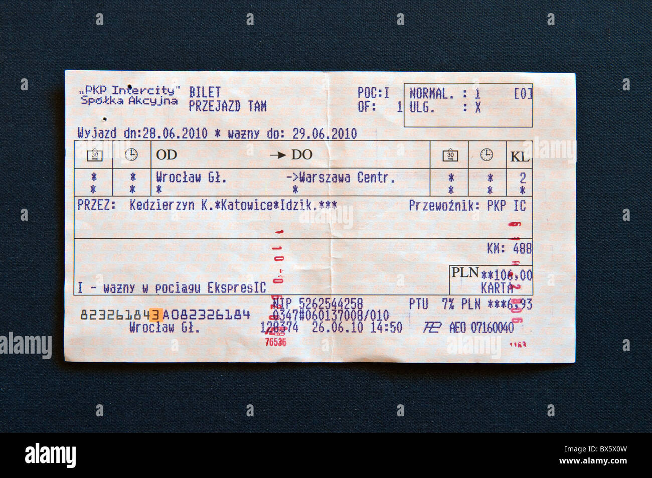 Validated train ticket for express train from Wroclaw to Warsaw, Poland Stock Photo