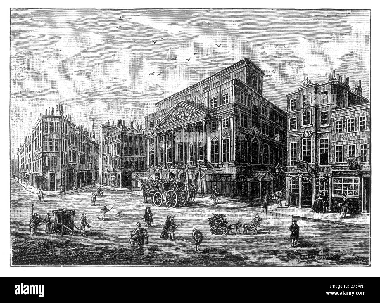 The Mansion House, London circa 1750; Black and White Illustration; - Stock Image