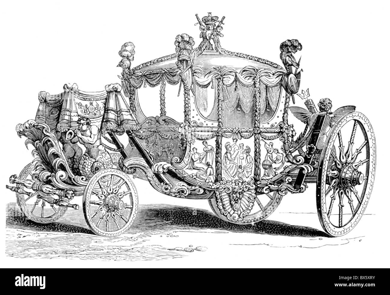 The Royal State Coach Of King George III England Black And White Illustration
