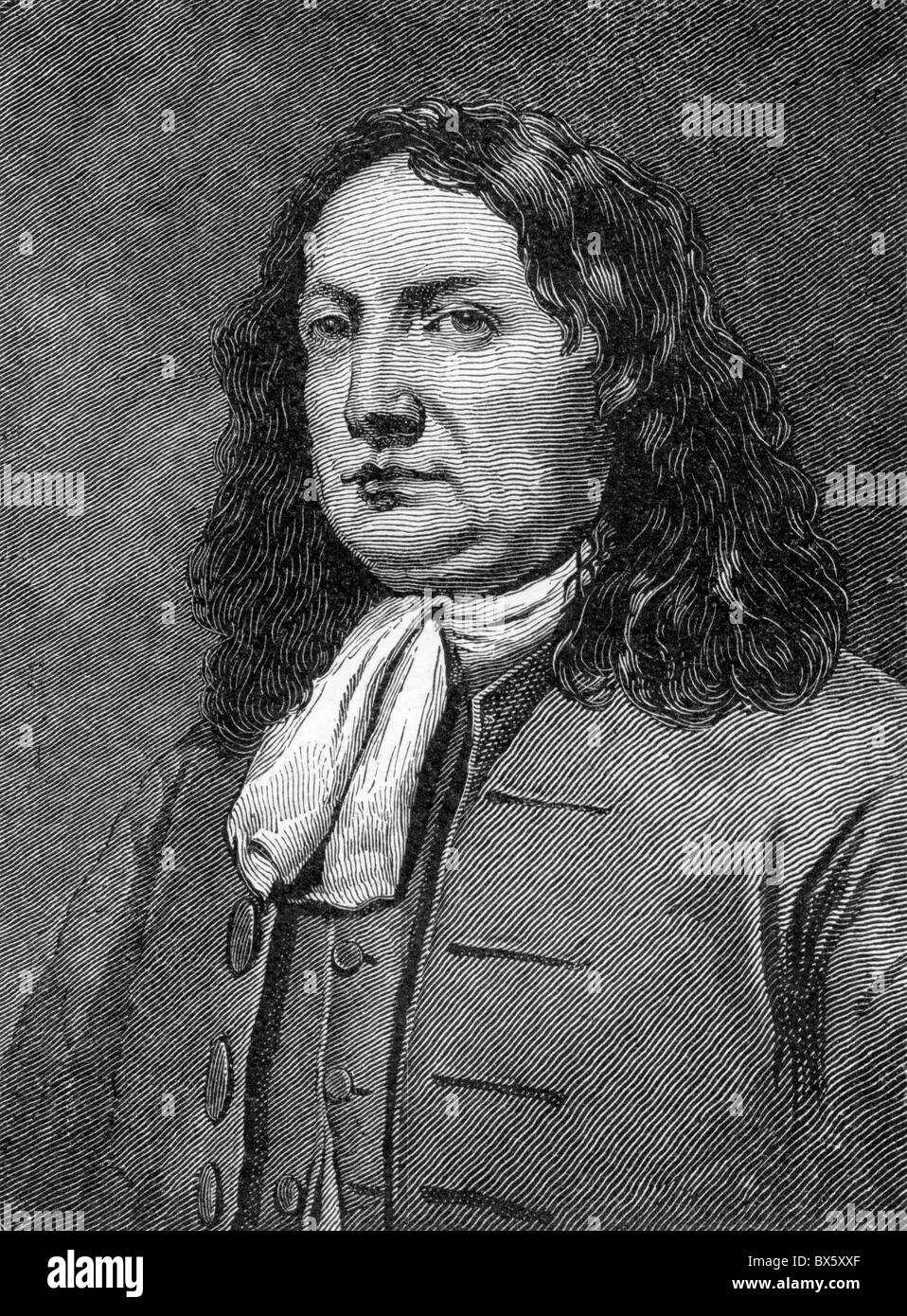 William Penn, founder of Pennsylvania in the Americas; Black and White Illustration; Stock Photo