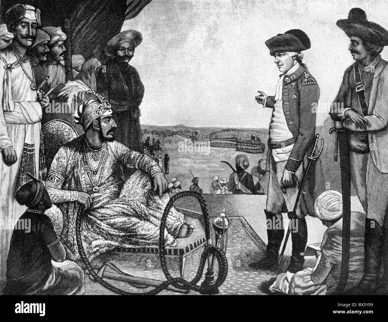 Shah Allum, Mogul of Hindustan, reviewing the East India Company's troops; Black and White Illustration of circa - Stock Image