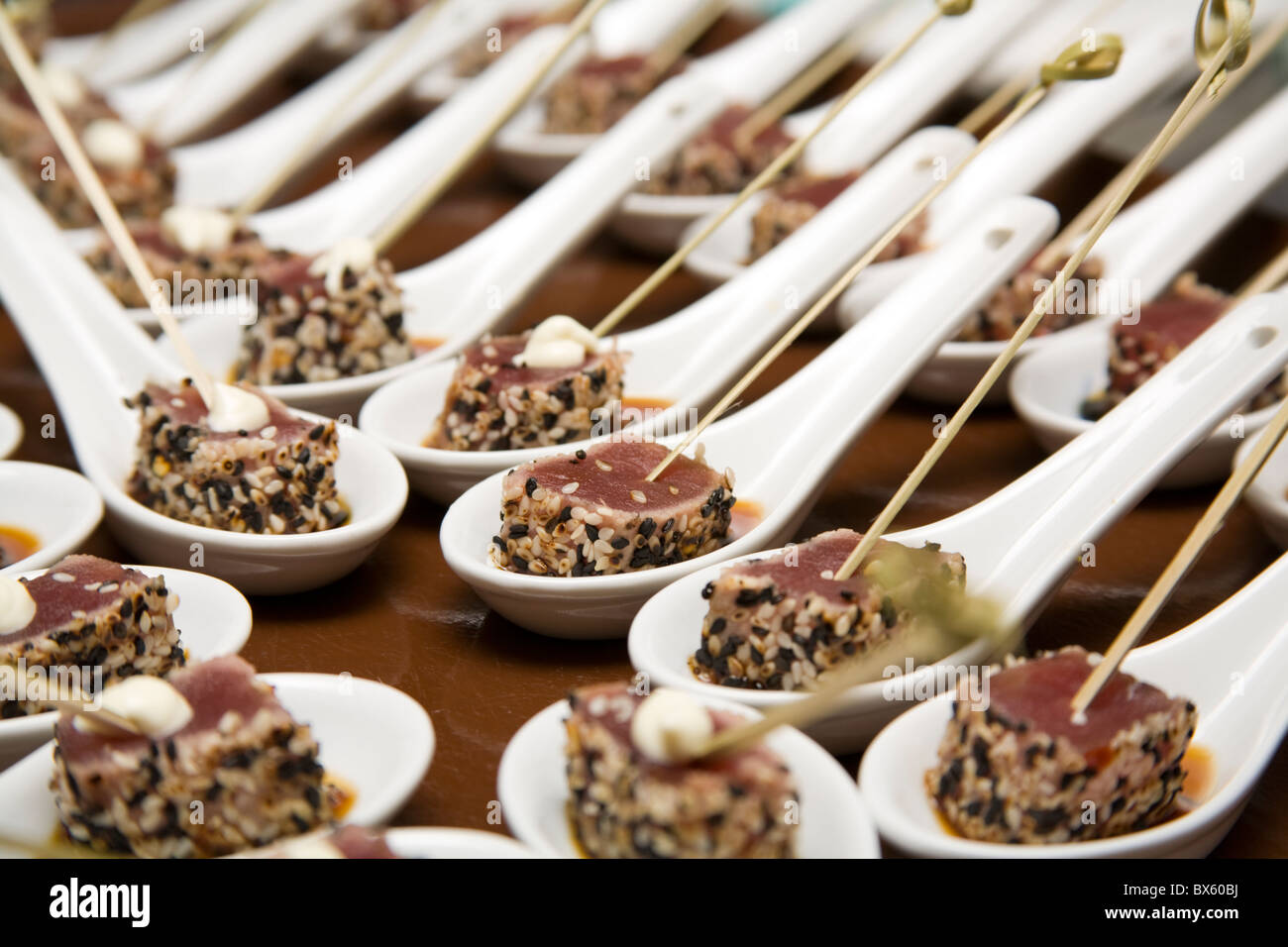 Tuna Canapés about to be served - Stock Image