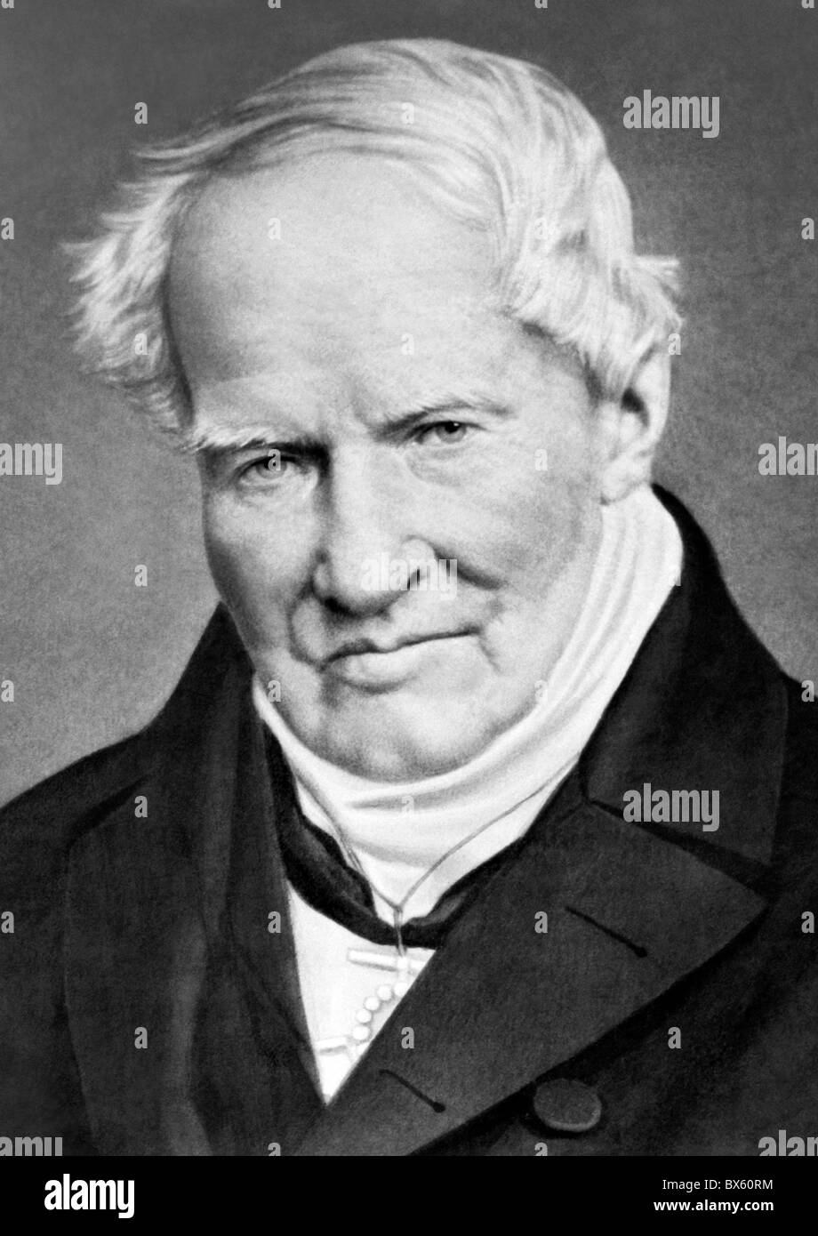 Vintage portrait photo circa 1850s of German naturalist and explorer Alexander Von Humboldt (1769 - 1859). - Stock Image