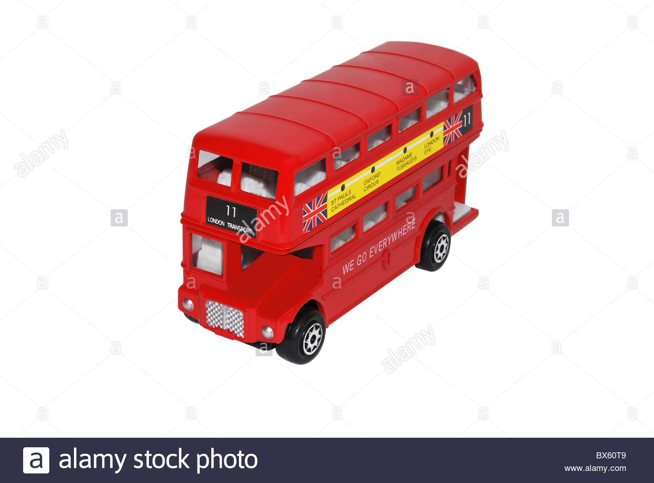 Model of a London double decked bus isolated on white - Stock Image