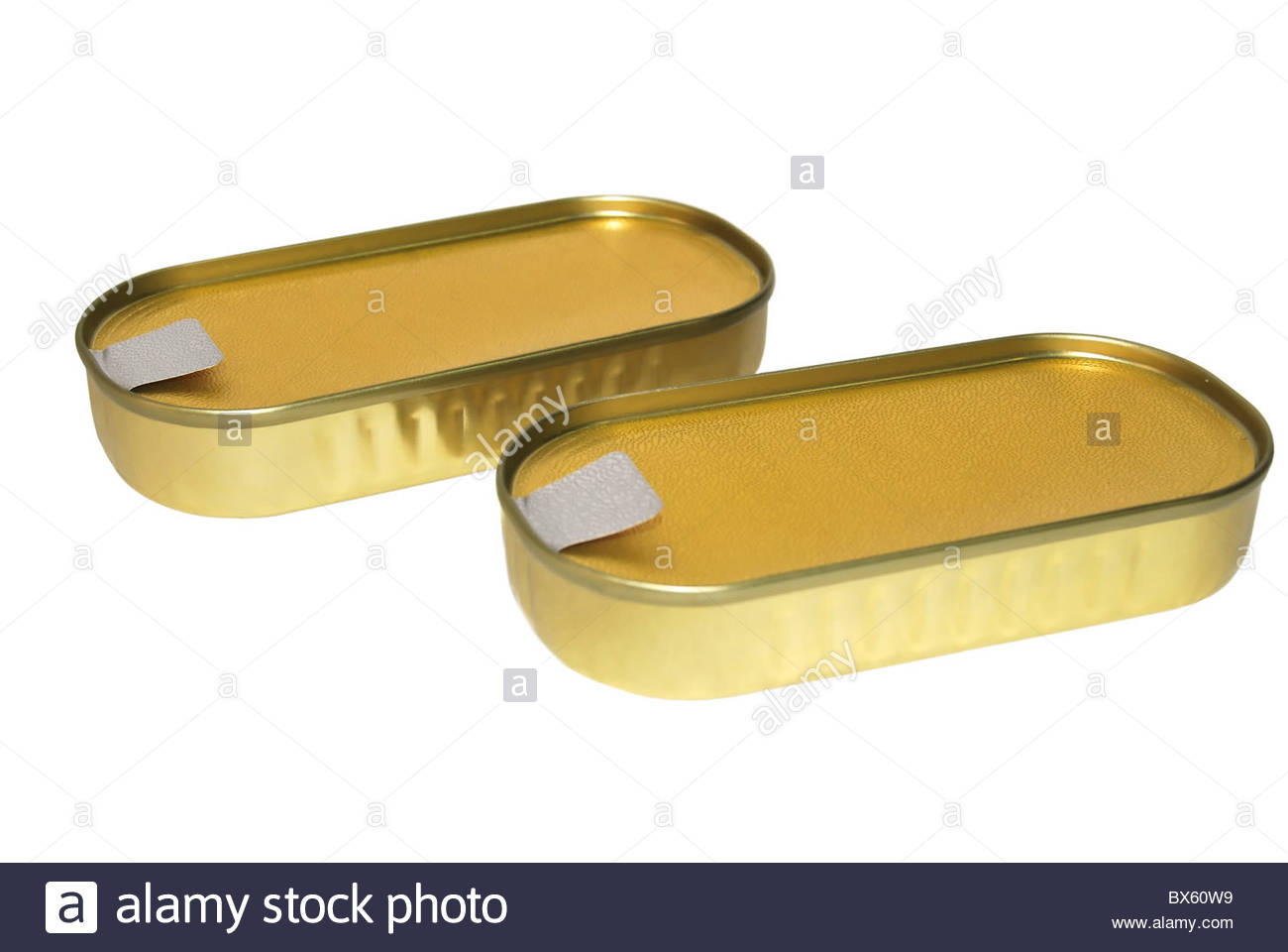 Two anchovies tin cans isolated on white. Food industry - Stock Image
