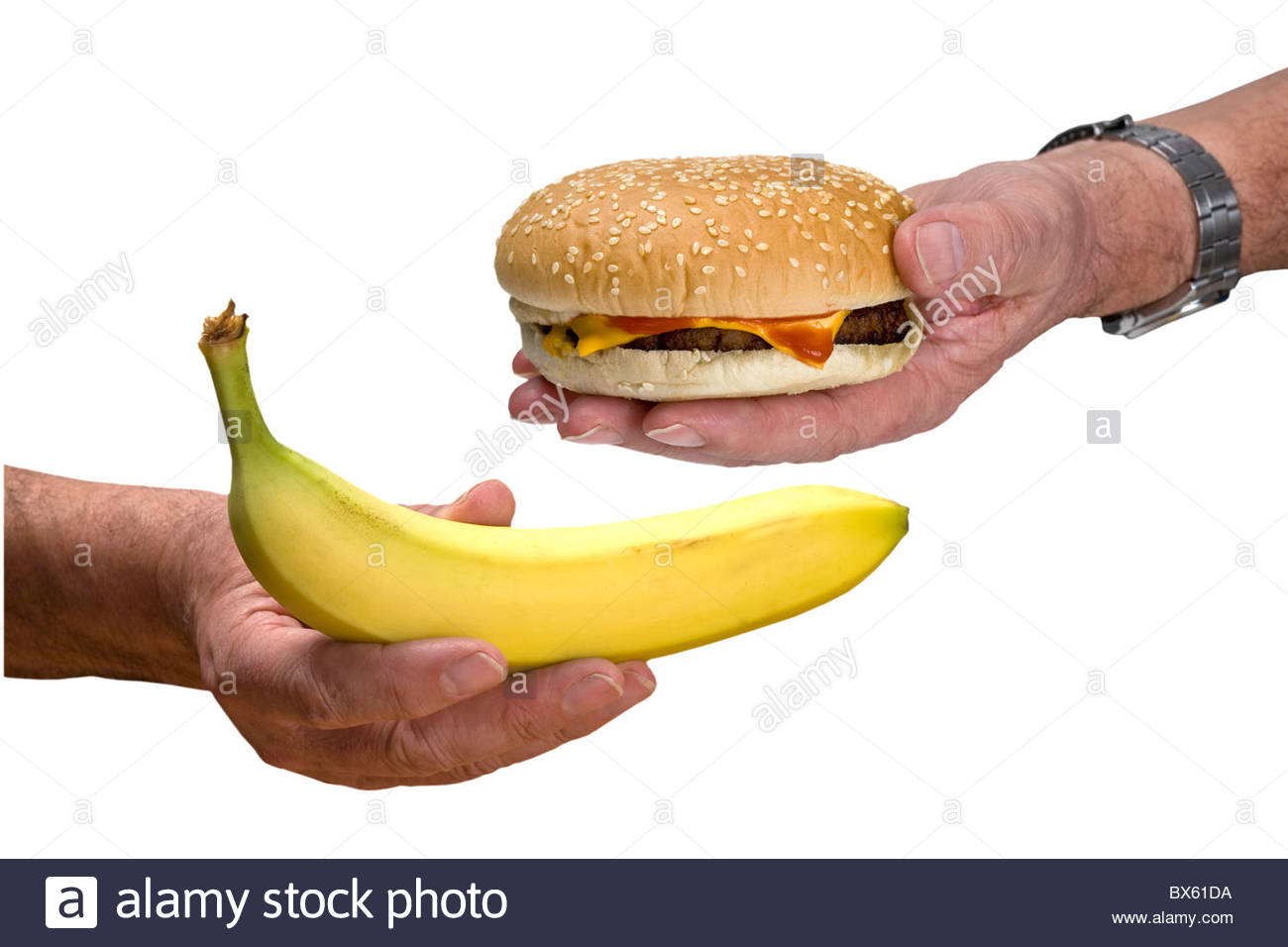 The decision is to choose between a hamburger or the healthy option of a banana. - Stock Image