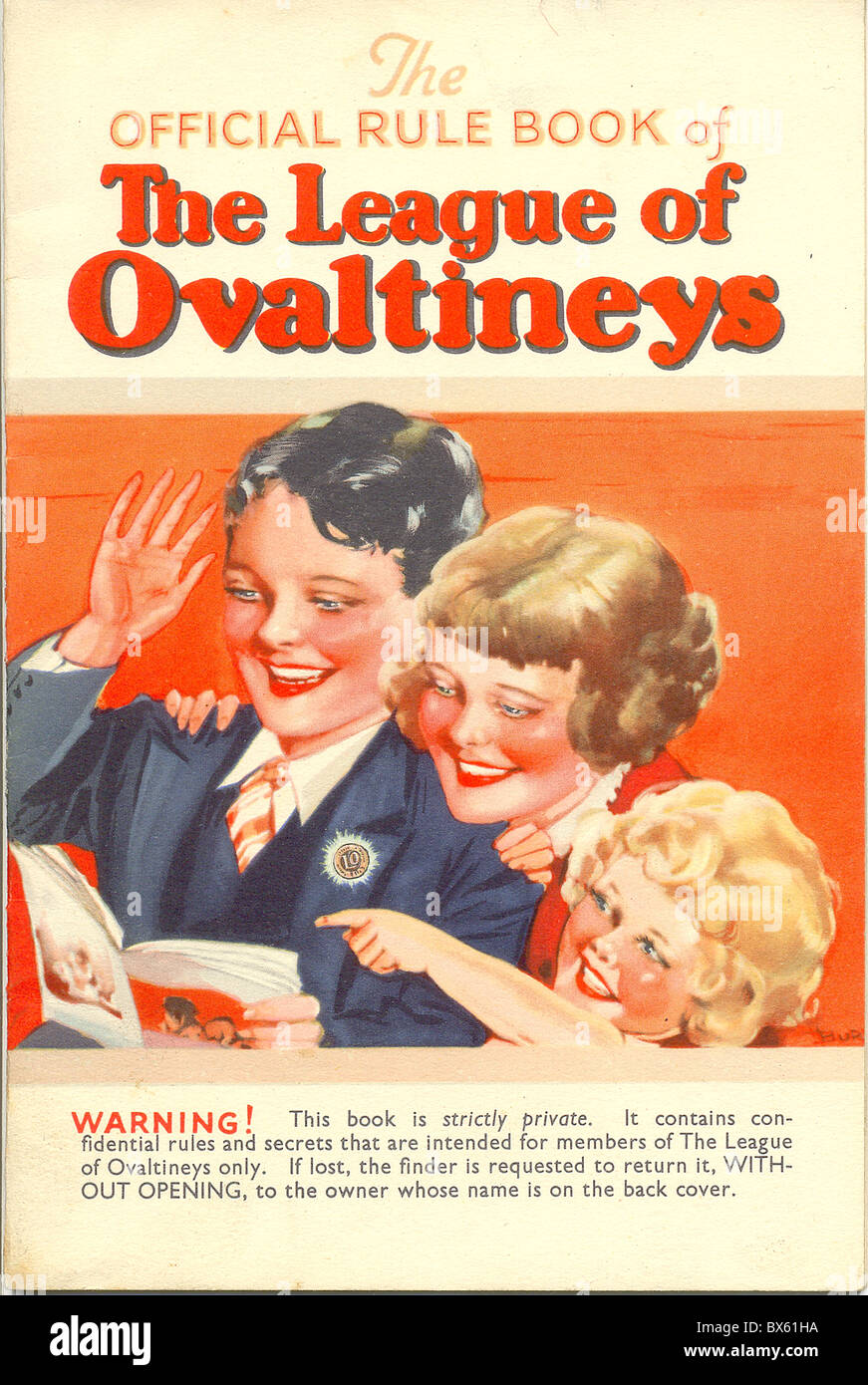 Cover of The official Rule Book of The League of Ovaltineys - Stock Image