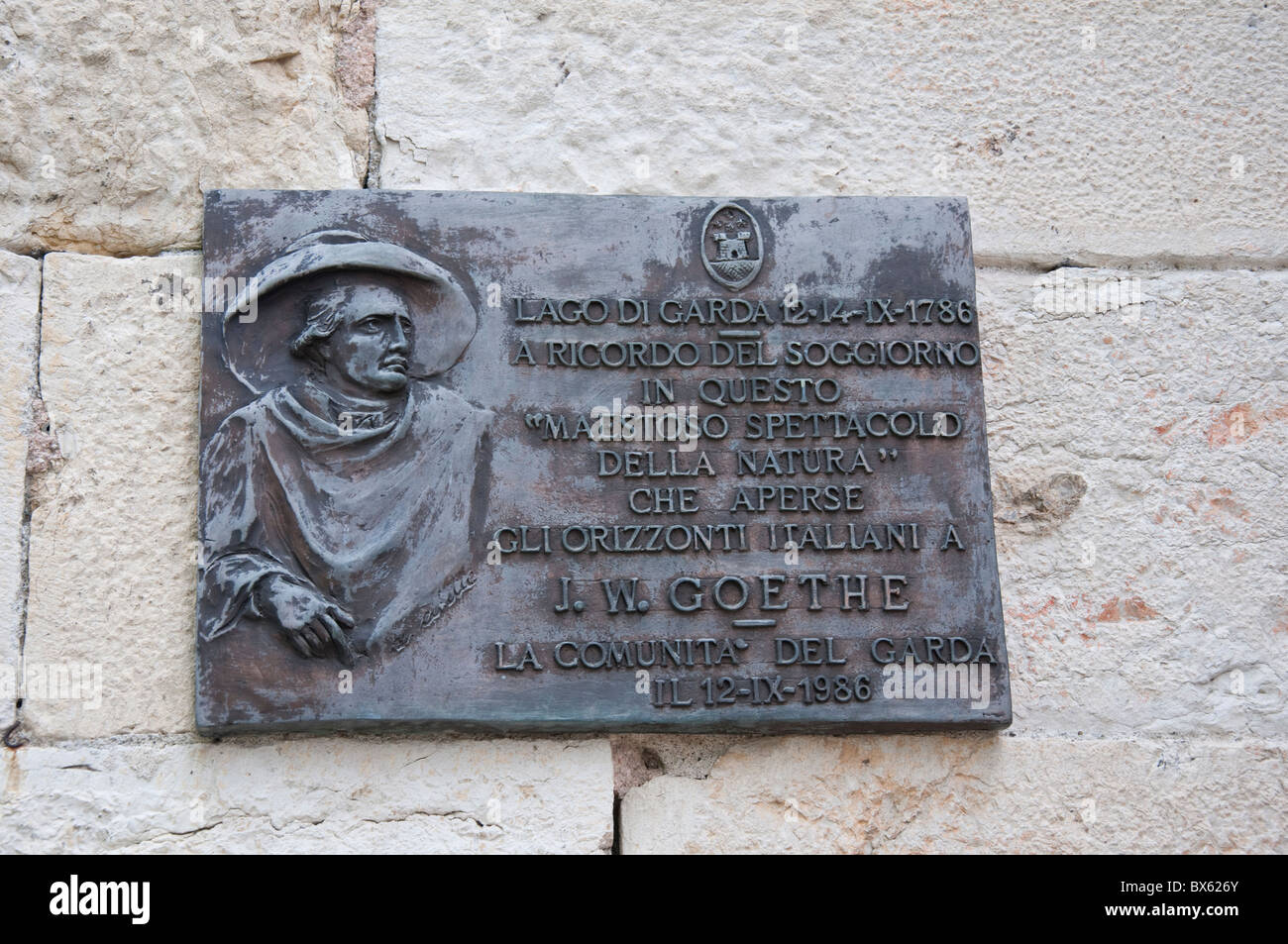 Plaque to Goethe in Malcesine on Lake Garda in Northern Italy Stock ...