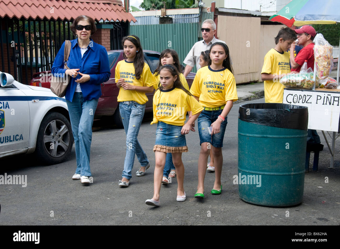 Children supporters of a Political party wearing political party t-shirt San José Costa Rica Municipal elections - Stock Image