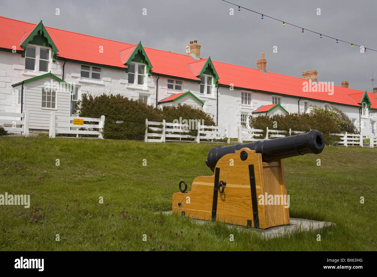 Cannon on Victory Green in Port Stanley, Falkland Islands (Islas Malvinas), South America - Stock Image