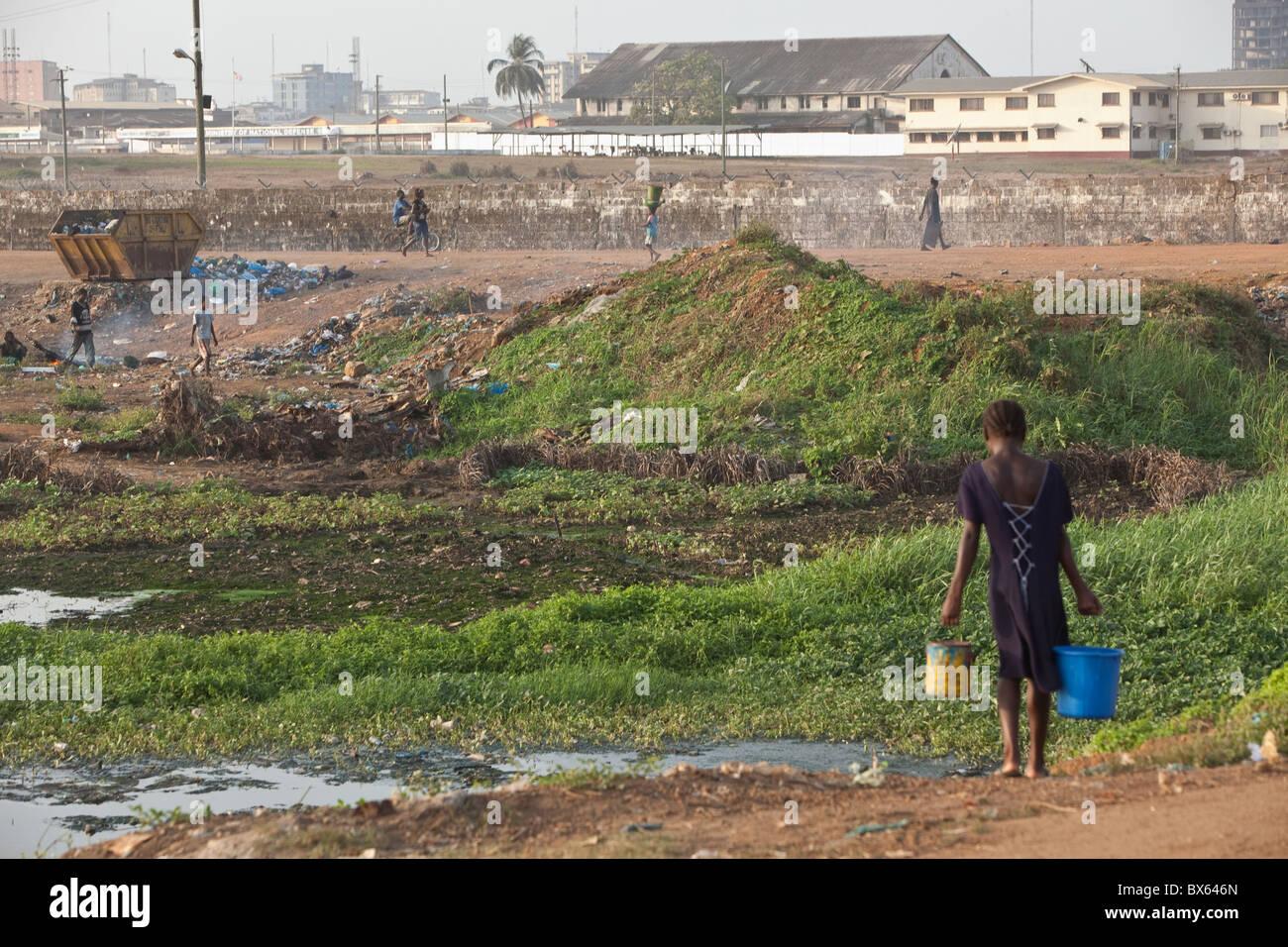 City scene along oceanfront | Monrovia, Liberia, West Africa. - Stock Image