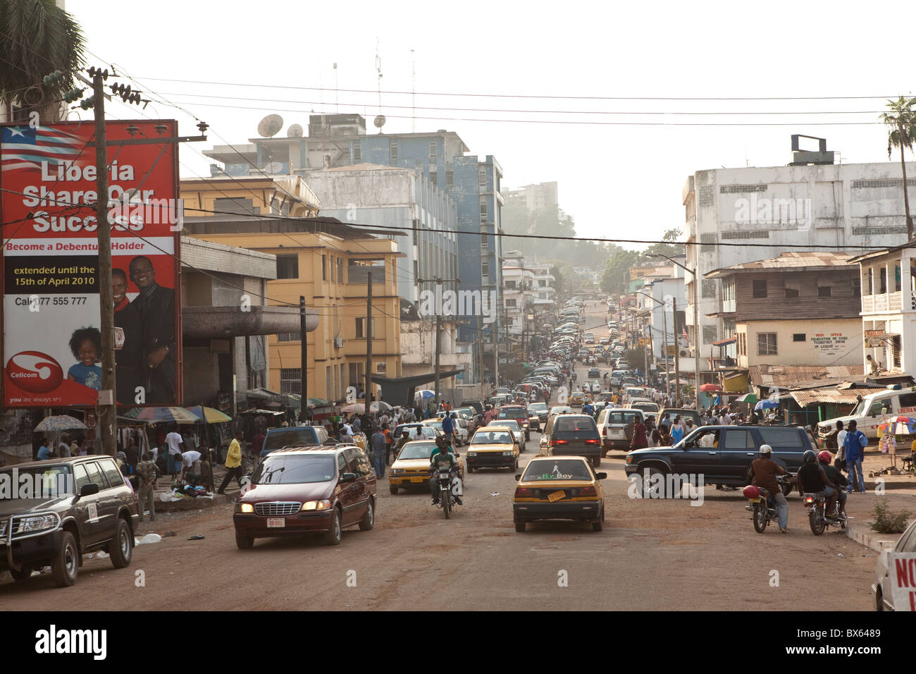 Busy city street in downtown Monrovia, Liberia, West Africa. Stock Photo