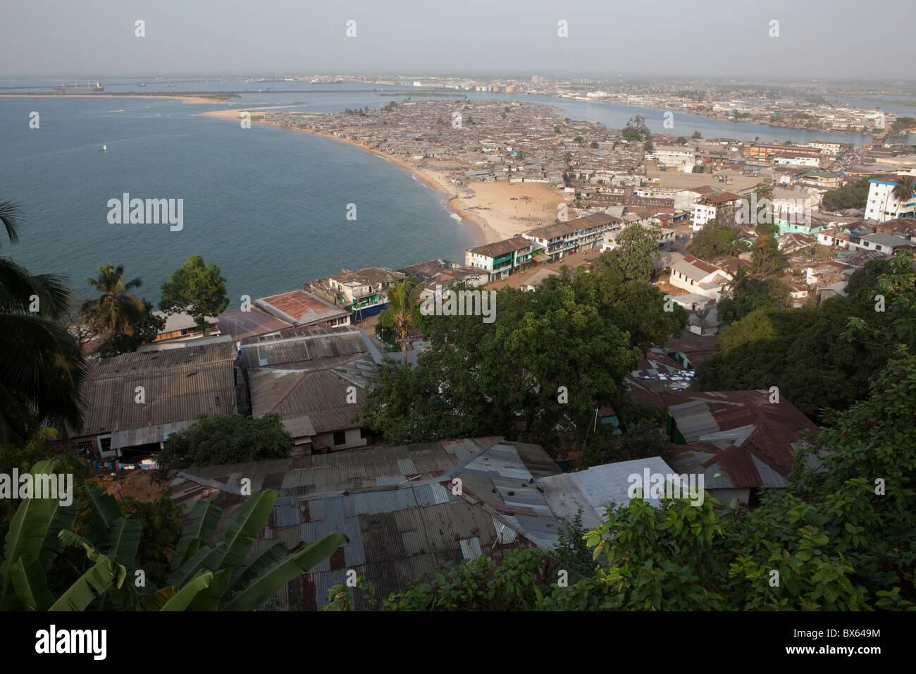 Monrovia, Liberia oceanfront showing Waterside and the Mesurado Penninsula. West Africa. - Stock Image