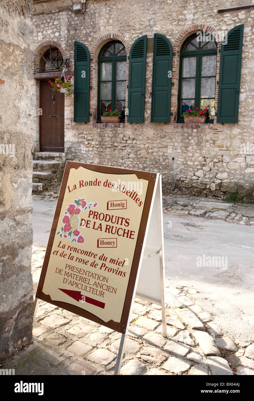 Local produce sign in the streets of the medieval town of Provins, seine et marne, France - Stock Image
