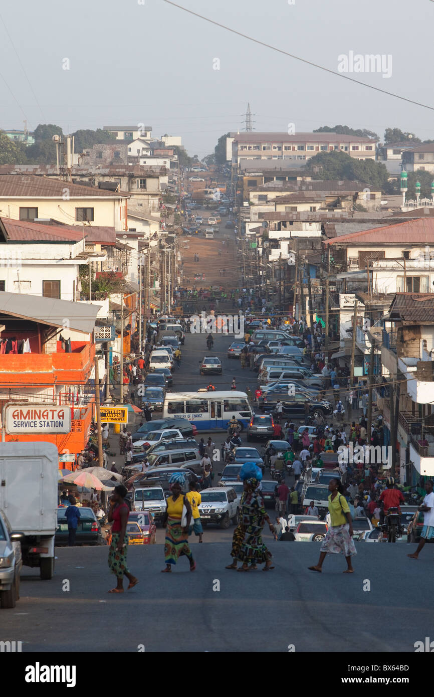 Busy city street in downtown Monrovia, Liberia, West Africa. - Stock Image