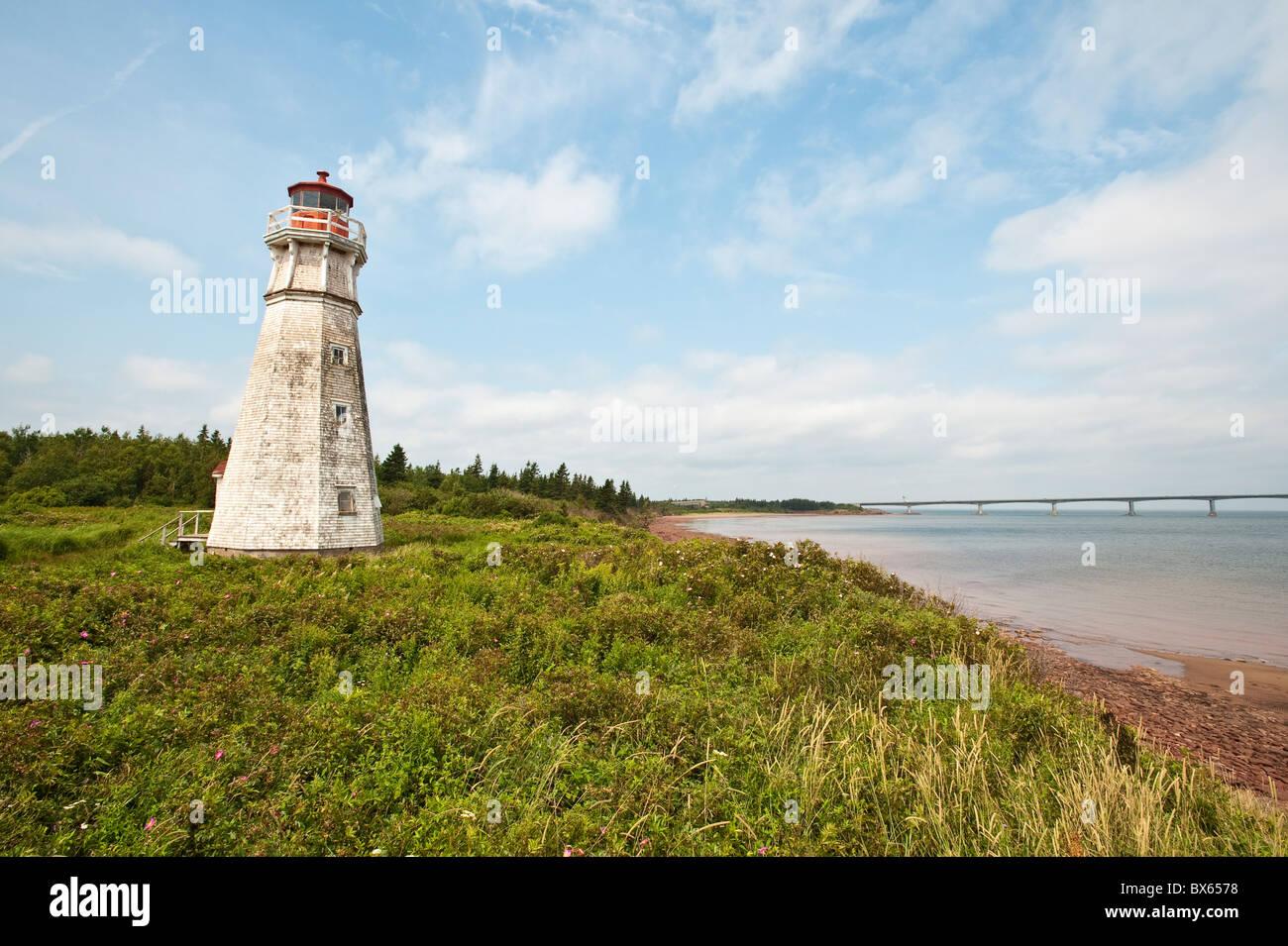Lighthouse at Cape Jourimain National Wildlife Area, New Brunswick, Canada, North America - Stock Image