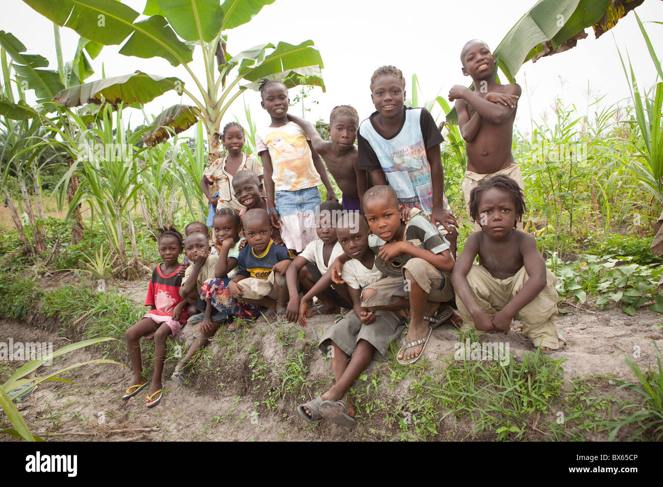 A group of children poses in Kakata, Liberia, West Africa. - Stock Image