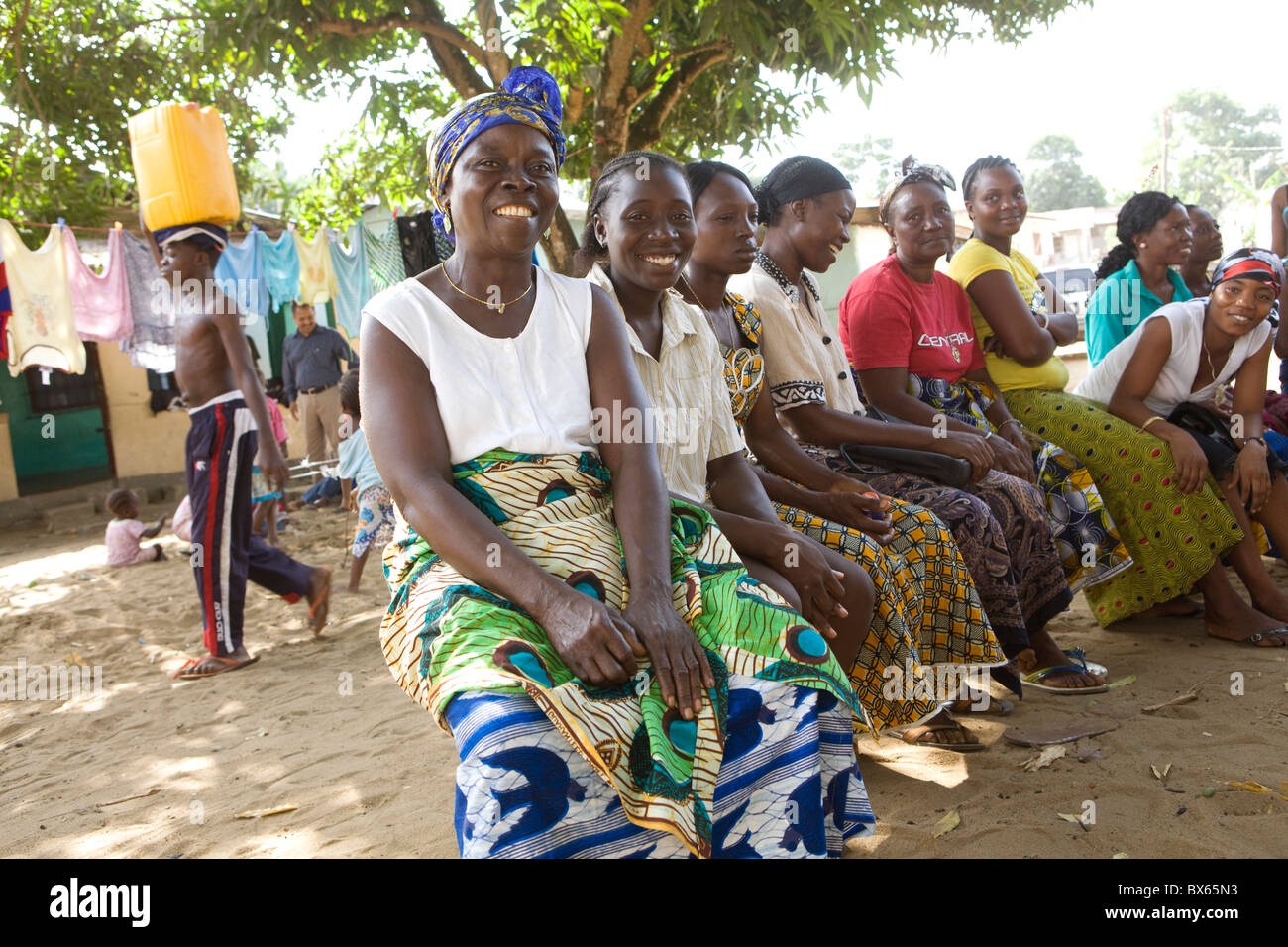 Women attend a community group meeting in Monrovia, Liberia, West Africa. Stock Photo