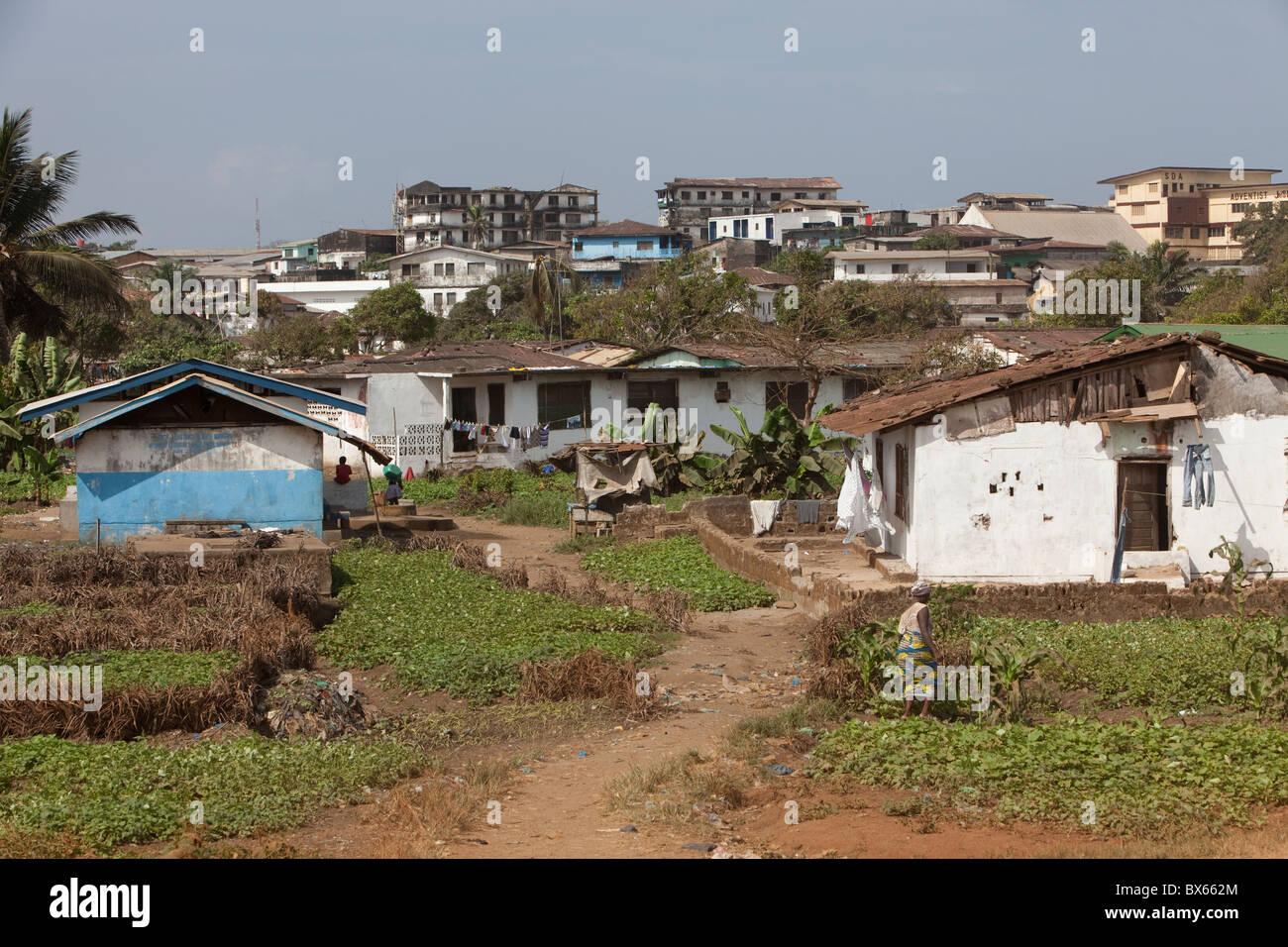 City scene along oceanfront   Monrovia, Liberia, West Africa. - Stock Image