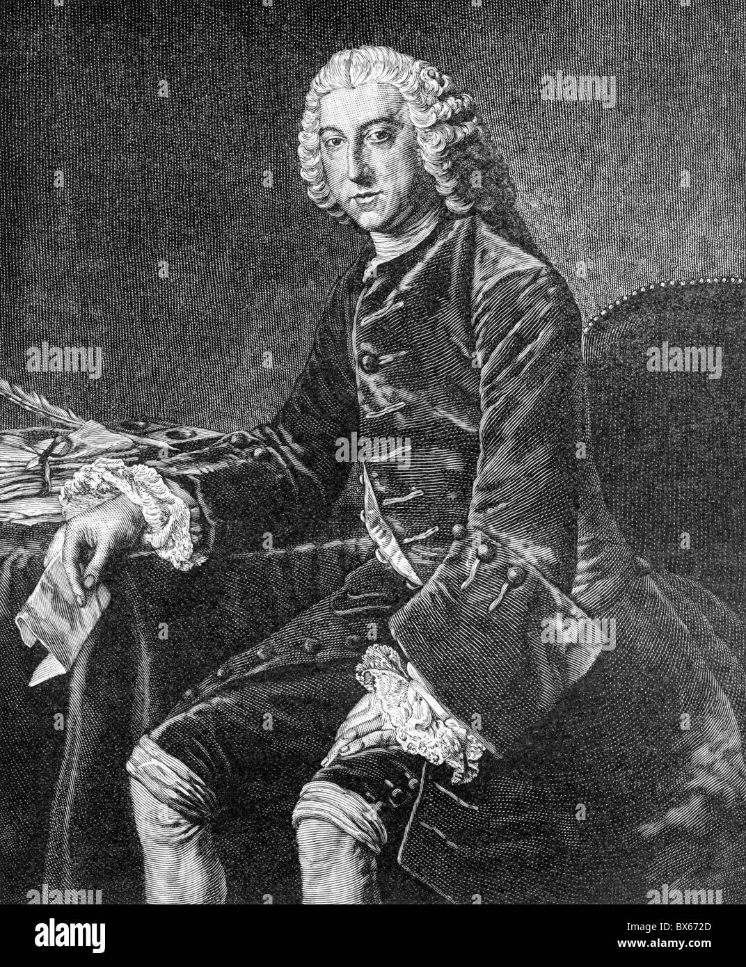 William Pitt, 1st Earl of Chatham; Black and White Illustration; - Stock Image