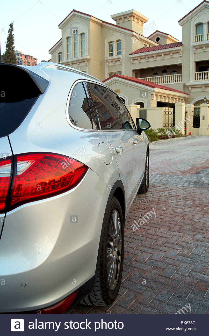 car driveway The Pearl Qatar luxury expensive German - Stock Image