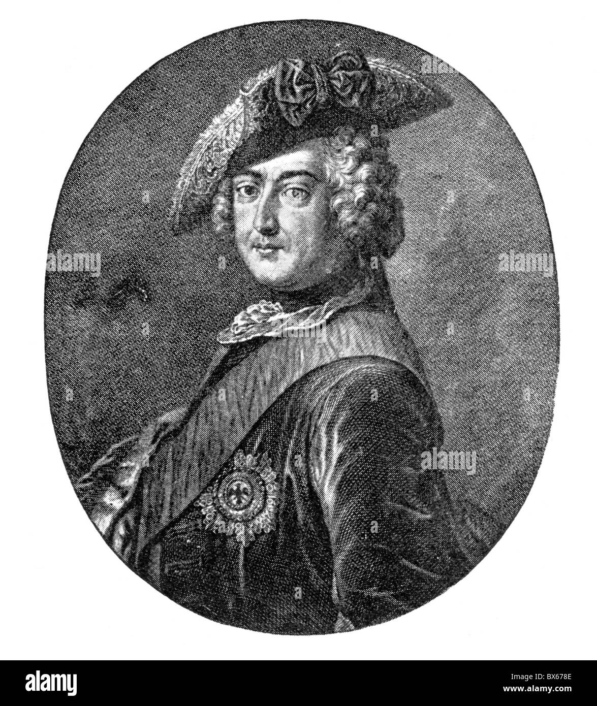 Frederick II, King of Prussia and Elector of Brandenburg; Black and White Illustration; - Stock Image