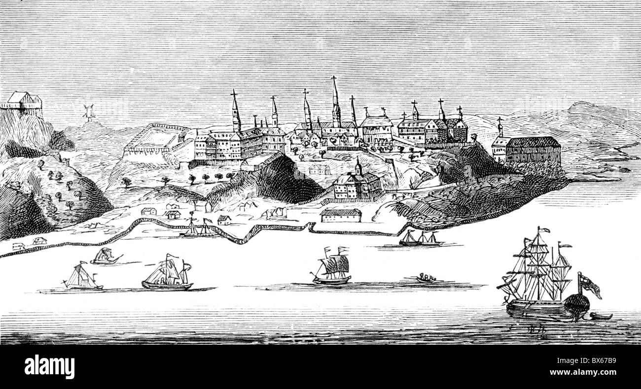 A view of the City of Quebec in New France, America; circa 1740; Black and White Illustration; - Stock Image