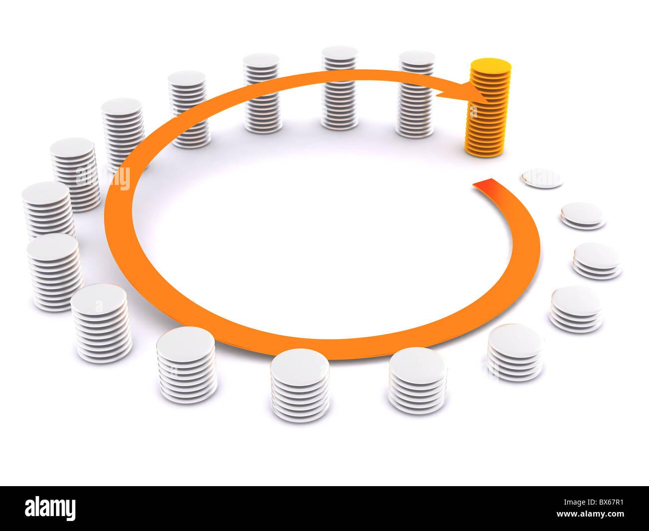 around finance diagram. 3d Stock Photo