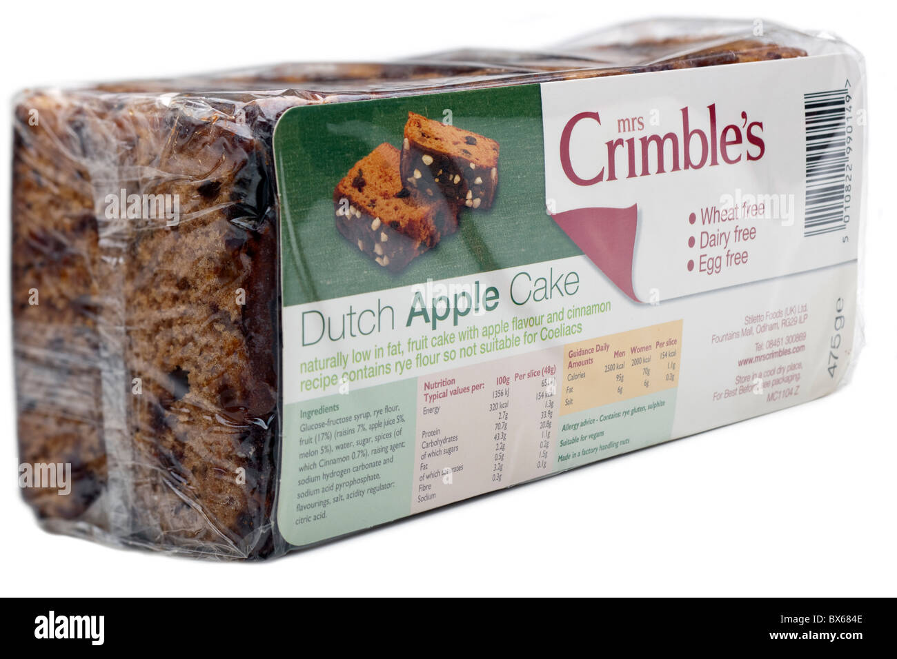 Packet of Mrs Crimble's wheat dairy and egg free Dutch apple cake Stock Photo