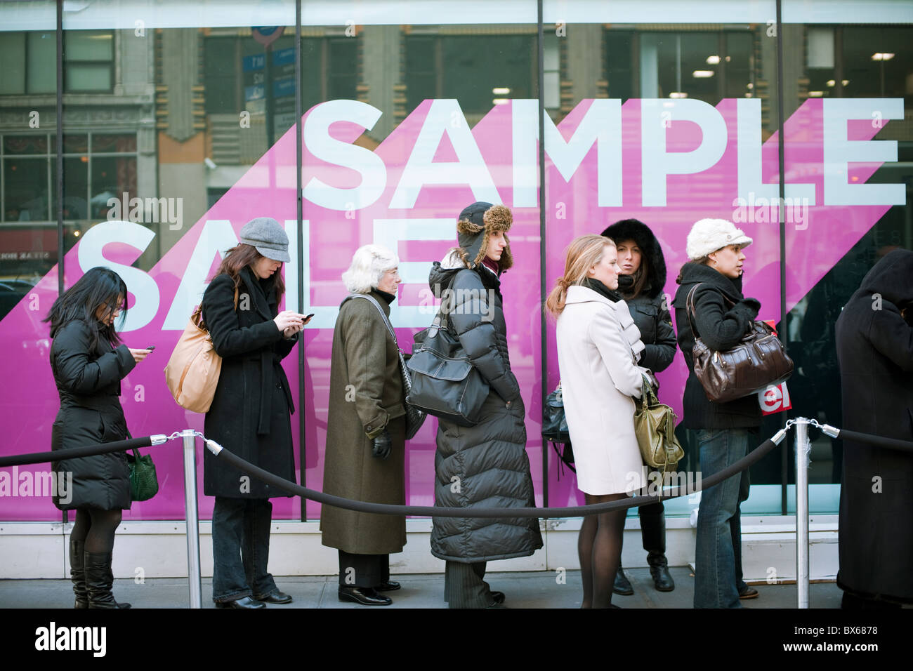2f14aa333d Shoppers line up in the cold for the Diane Von Furstenberg sample sale in  New York