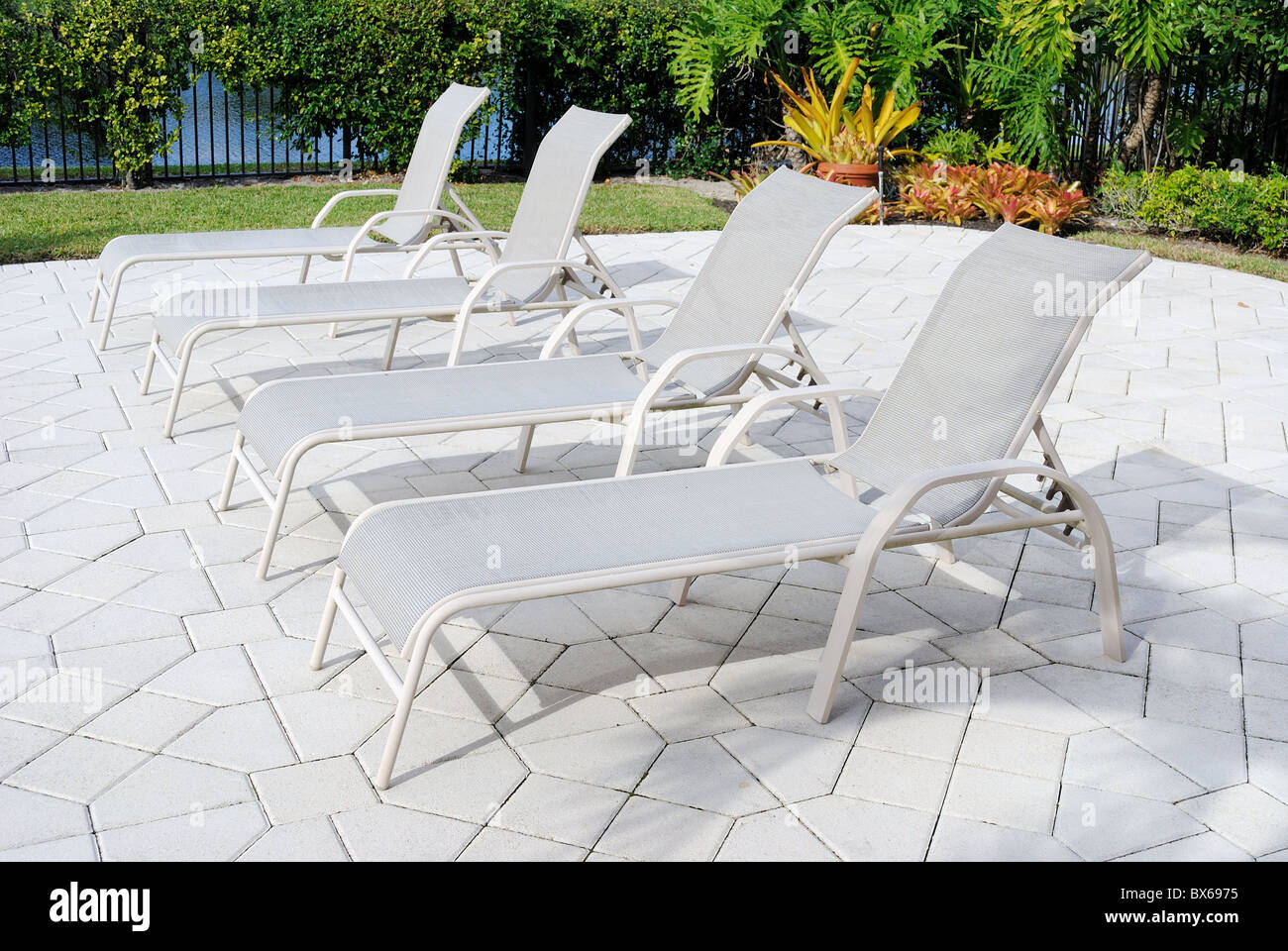 A deck with chairs - Stock Image