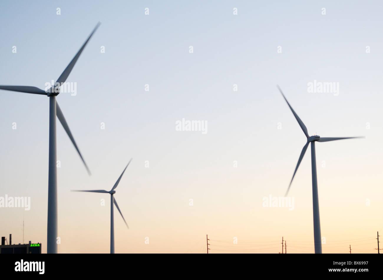Wind Farm, Atlantic County Utilities Authority, Atlantic City, New Jersey - Stock Image